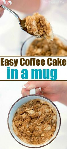 Easy mug cake recipe like coffee cake in a mug Perfect 1 minute microwave breakfast or dessert for one that s moist and satisfies your sweet tooth cake coffeecake mugrecipe mug dessert microwave cakeinamug Microwave Mug Recipes, Mug Cake Microwave, Baking Recipes, Cake Recipes, Easy Microwave Desserts, Microwave Food, Coffe Mug Cake, Microwave Breakfast, Breakfast In A Mug