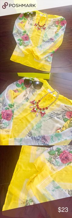 Beautiful yellow floral half shoulder blouse 😍 Beautiful half shoulder yellow blouse . In perfect condition. Never worn . Party wear blouse . ( listing is only for the blouse ) Tops Blouses