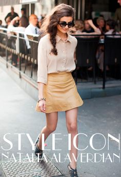 Tan leather skirt + creme blouse