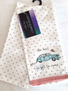 """NEW Cynthia Rowley KITCHEN TEA Dish TOWELS Set of 2 """"The Best is yet to come NWT #CynthiaRowley Dish Towels, Tea Towels, The Best Is Yet To Come, Cynthia Rowley, Dishes, Tableware, Kitchen, Goals, Dinnerware"""