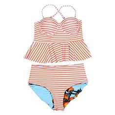 Ularma Damen Volant Tankinis High Waist Badeanzug Streifen Polyester  Two-Piece Swimsuit (Orange,