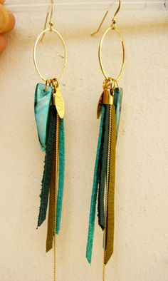 Leather Fringes Long Earrings Bird of Paradise by zozichic on Etsy, $70.00