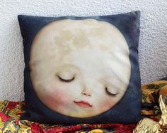 Sweet Moon Pillow | soft velvety space pillow case, childrens room, moon bedding kids room nursery bedding, Lisa Falzon home - by Meluseena