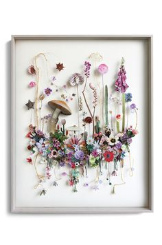 Flower construction #76 / Anne Ten Donkelaar / Flower constructions are 3d collages from pressed flowers and cut out flower pictures.