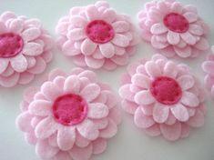 Set of 6pcs handmade felt flower - pink (SU)