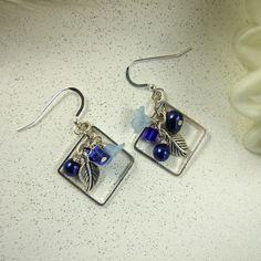 Earrings, Beaded Royal Blue, Stirling Silver Earwires  - Free UK P&P £6.50