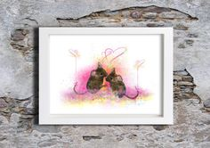 Field Mice Watercolour, Wall Art, Wall decor, Watercolor, Art Print by melOnDesign on Etsy