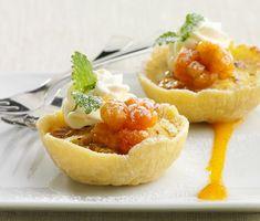 Cloudberry cream tarts with custard