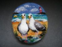Handmade needle felted brooch 'Gilbert and Friend at the Rock Pool' by T Dunn