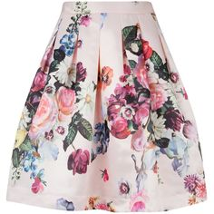 Ted Baker Flowtii Oil Painting Printed Skirt, Nude Pink (14270 RSD) ❤ liked on Polyvore featuring skirts, bottoms, saias, gonne, patterned skirt, flower print skirt, ted baker skirt, floral skirt and flared skirt
