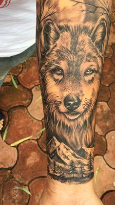Wolf Tattoo by Akash Chandani - - Wolf Tattoos Men, Side Tattoos, Dog Tattoos, Tattoos For Guys, Wolf Tattoo Forearm, Lone Wolf Tattoo, Lion Tattoo, Animal Sleeve Tattoo, Best Sleeve Tattoos