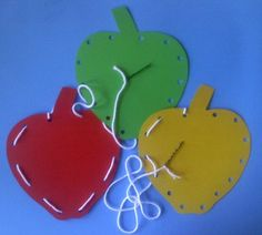 Apple Lacing Cards - Use bobby pin for needle!