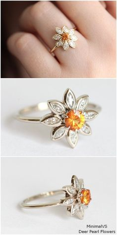 Floral Daisy Ring with orange sapphire and marquise diamonds #rings #wedding #weddingideas #engagementrings #deerpearlflowers
