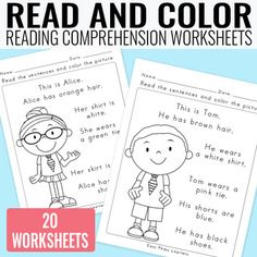Read and Color Reading Comprehension Worksheets - Grade 1