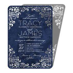 Flourishing Diamond - Signature Laser Cut Wedding Invitations - Sarah Hawkins Designs - Navy - Blue : Front