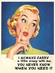retro, dark humor, blonde pinup, funny, cray cray with me Vintage Humor, Retro Humor, Retro Funny, Retro Pics, Funny Vintage, Vintage Cards, Vintage Images, Haha Funny, Hilarious