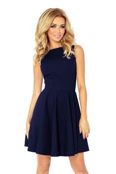 ff58087ae345 Společenské a plesové exkluzivní šaty s kolovou sukní krátké tmavě modré