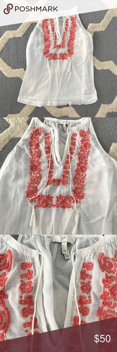 Joie embroidered white tank with tassels size XS Size XS. Linen. 24 inches chest, 22 inches length Joie Tops Tank Tops