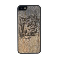 Wooden Tiger Blue Maple iPhone Cases by Sand Creek Ventures