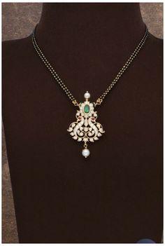 Gold Chain Design, Gold Jewellery Design, Pearl Design, Bridal Jewellery, Bridal Necklace, Gold Mangalsutra Designs, Diamond Mangalsutra, Diamond Pendant, Gold Pendant