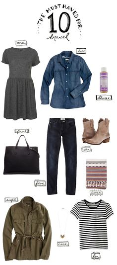 The 10 must haves for travel | The Fresh Exchange 1. Gray T-shirt dress (jersey); 2. TA denim or chambray shirt; 3. Eucalyptus and Hemp Soap: Dr. Bronner's; 4. The Black Shopper Tote (structured oversize); 5. Dark Denim Flex Jeans; 6. Frye Boots; 7. Cotton Scarf; 8. Field jacket or light coat; 9.Simple necklace: 10. Black and white striped tee