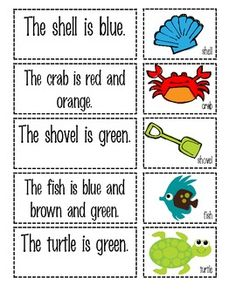 This matching activity contains 15 sentence cards and 15 picture cards. Simple sight words are used for fluency and accuracy. Language Activities, Reading Activities, Summer Activities, Too Cool For School, School Stuff, Speech And Language, Language Arts, Ocean Unit, Complete Sentences