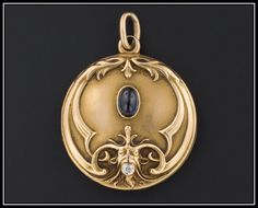 Antique Art Nouveau 14k Gold Sapphire & Diamond Gargoyle Locket Pendant by TrademarkAntiques on Etsy https://www.etsy.com/listing/199996516/antique-art-nouveau-14k-gold-sapphire