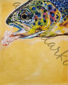 Limited Edition Run Brown Trout on a Fly Oil Painting Print 20x24