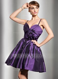 Bridesmaid Dresses - $97.99 - A-Line/Princess Sweetheart Knee-Length Taffeta Bridesmaid Dress With Ruffle Flower(s) (007004284) http://jjshouse.com/A-Line-Princess-Sweetheart-Knee-Length-Taffeta-Bridesmaid-Dress-With-Ruffle-Flower-S-007004284-g4284
