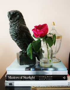 owl statue side table styling peach living room