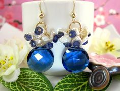 Keishi pearl kyanite blue quartz and iolite gold by KBlossoms, $115.00