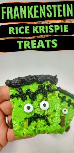 There is no better Halloween snack food than Frankenstein Rice Krispie Treats. This easy, no bake recipe is just perfect for this spooky time of year! #nobakedesserts #easydesserts #ricekrispietreats #halloween Rice Krispie Treats, Rice Krispies, No Bake Desserts, Easy Desserts, Baking Recipes, Snack Recipes, Green Food Coloring, Halloween Snacks, Frankenstein