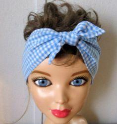Blue Bandana In Hair