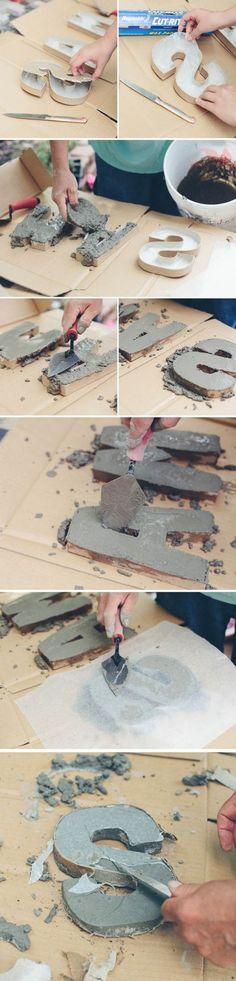diy deko   buchstaben aus zement, kartonbuchstaben, beton gießen