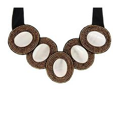 ANNA – WHITE -  luxe statement necklace consists of white mother of pearl shells, accented by rows of gold beads.  http://www.cayetanolegacy.com