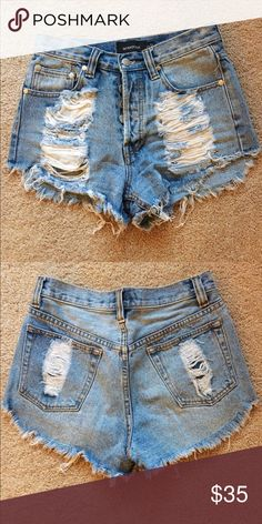 """Mink Pink Slasher Flick High Waisted Shorts Distressed high waisted shorts in a light/medium wash. Soft and worn in, but still in great condition. Size is """"small"""" but will probably fit 25-27 inch waist. Check website for details. MINKPINK Shorts Jean Shorts"""