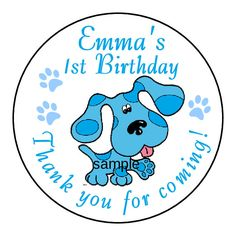 BLUES CLUES Birthday Party Favor Labels Personalized Stickers 1.5, 2.5, 3.3  #Custom #Birthdaychild