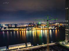 Rotterdam Skyline Hafen, Niederlande. Aus dem Hotezimmer im De Rotterdam fotografiert.