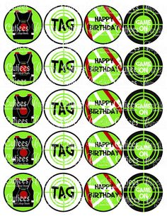 Laser Tag Digital Collage Cupcake Toppers 2 Inch Circle Tags NO PUNCH needed via Etsy