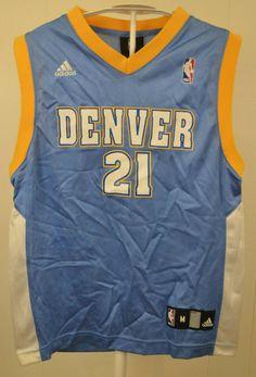 7d6a7337320 Adidas Denver Nuggets Jersey #21 Eduardo Najera NBA Kids Youth Medium 10-12  Blue