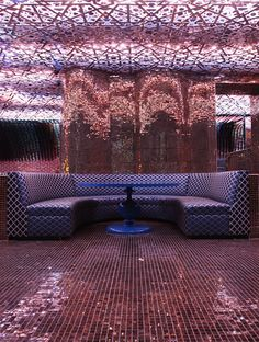Pink sparkles - Juliet Supper Club in NYC. Restaurant Design, Restaurant Bar, Restaurant Interiors, Canto Bar, Night Club, Night Life, Nightclub Design, Club Lighting, Purple Rooms