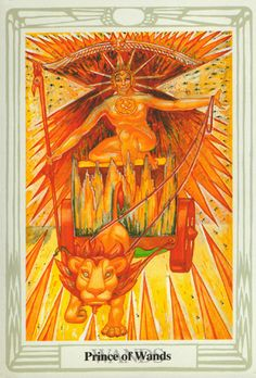 Thoth Tarot - Prince of Wands - The powerful Thoth Tarot deck was designed by Aleister Crowley, an influencial and controversial occultist of the early 20th century. He worked on the deck from 1938 to 1943.