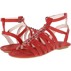 Michael Antonio Drea Women's Flat Shoes featuring polyvore, women's fashion, shoes, sandals, red, buckle sandals, red ankle strap flats, red flats, ankle strap flats and gladiator sandals shoes