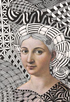 pick a portrait from a magazine or famous painting and then create background and clothing with zentangle. High School Art, Middle School Art, Op Art, Collage Kunst, Illustration Arte, Zentangle Patterns, Zentangles, Doodle Patterns, School Art Projects