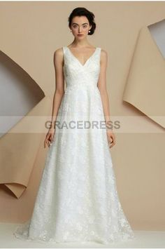 Buy A-line Sweep Brush Train V-neck Lace A line Wedding Dresses A0134 With Quality Guarantee, 7 Days Return Polciy And Free Shipping to UK.