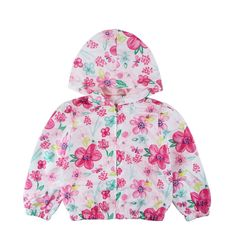 6yrs GIRLS RED RAIN MAC COAT SPRING SUMMER JACKET HOOD WINDBREAKER FLOWERS 18m