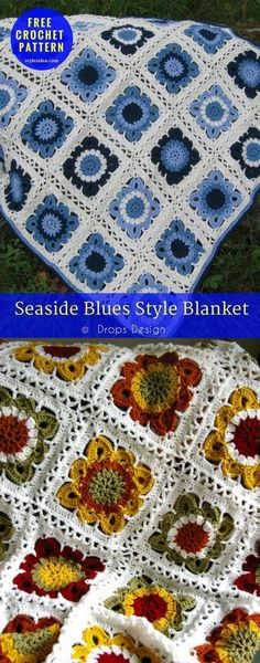 Seaside Blues Style Blanket – Free Crochet Pattern. Author: Drops Design yarn: DK (11 wpi) Hook: 5.0 mm/H One of most popular blanket crochet patterns designed by DROPS. It's available for free. Advanced but not difficult crochet pattern. #crochet #crochetblanket #seaside