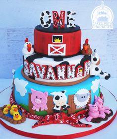 Barn yard themed first birthday cake Barnyard Cake, Barnyard Party, Farm Party, Second Birthday Cakes, Second Birthday Ideas, First Birthday Cakes, Cowboy Birthday, 1st Boy Birthday, Boy Birthday Parties