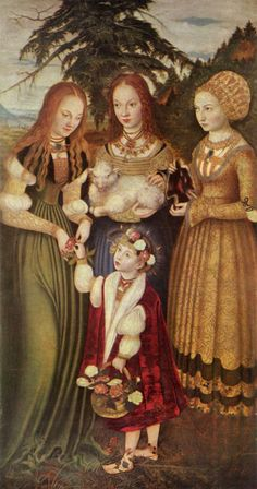 """""""Saints Dorothea, Agnes, and Kunigunde"""" from the St. Catherine Altarpiece triptych, 1506, by Lucas Cranach the Elder (German, 1472-1553)."""