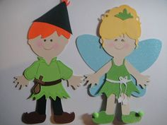 PETER PAN & TINKERBELL Paper Dolls Set / CRICUT Die Cut /SCRAPBOOK EMBELLISHMENT